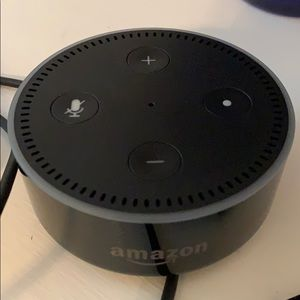 Black Amazon Echo Dot with cords - new